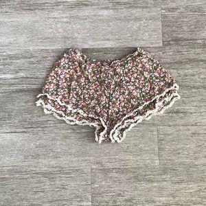 Forever 21 Floral Shorts with Fringe